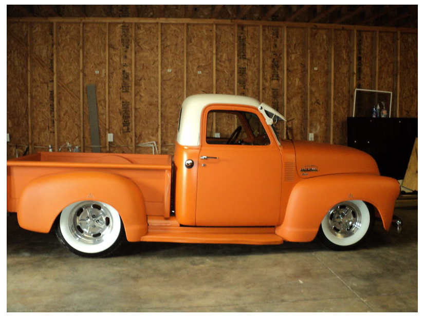 Tangerine 49 51 Chevy 3100 Pickup Side View