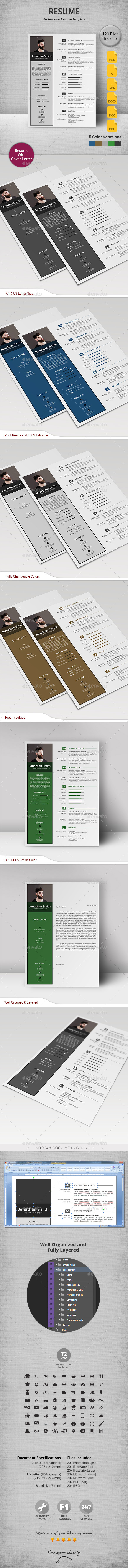 Resume Template PSD, Vector EPS, AI. Download here: http ...