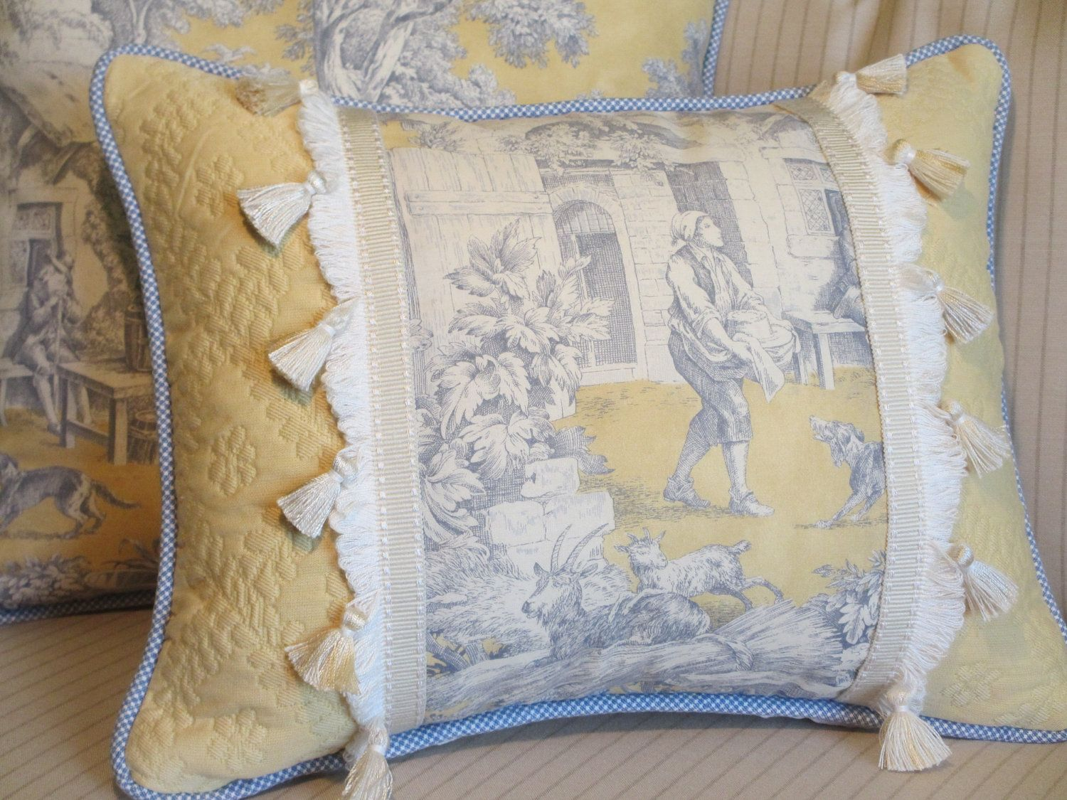 Toile French Country Pillow Cover, Blue and Yellow Decorative Throw Pillow Cover, Tassel Fringe ...