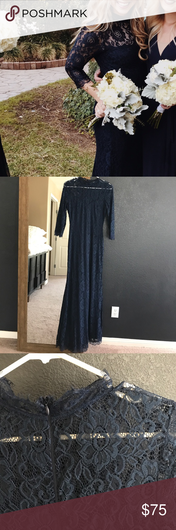 Navy blue lace bridesmaid dress worn 1x Lace maxi dress with sweetheart cut and high neck lace, back zipper size M, surprisingly comfortable! Lulu's Dresses Maxi