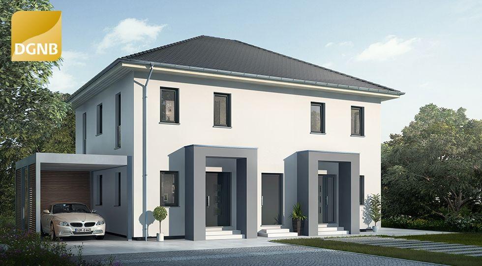 Moderne doppelhäuser satteldach  OKAL Doppelhaus mit Walmdach #OKAL | Hausansichten außen ...