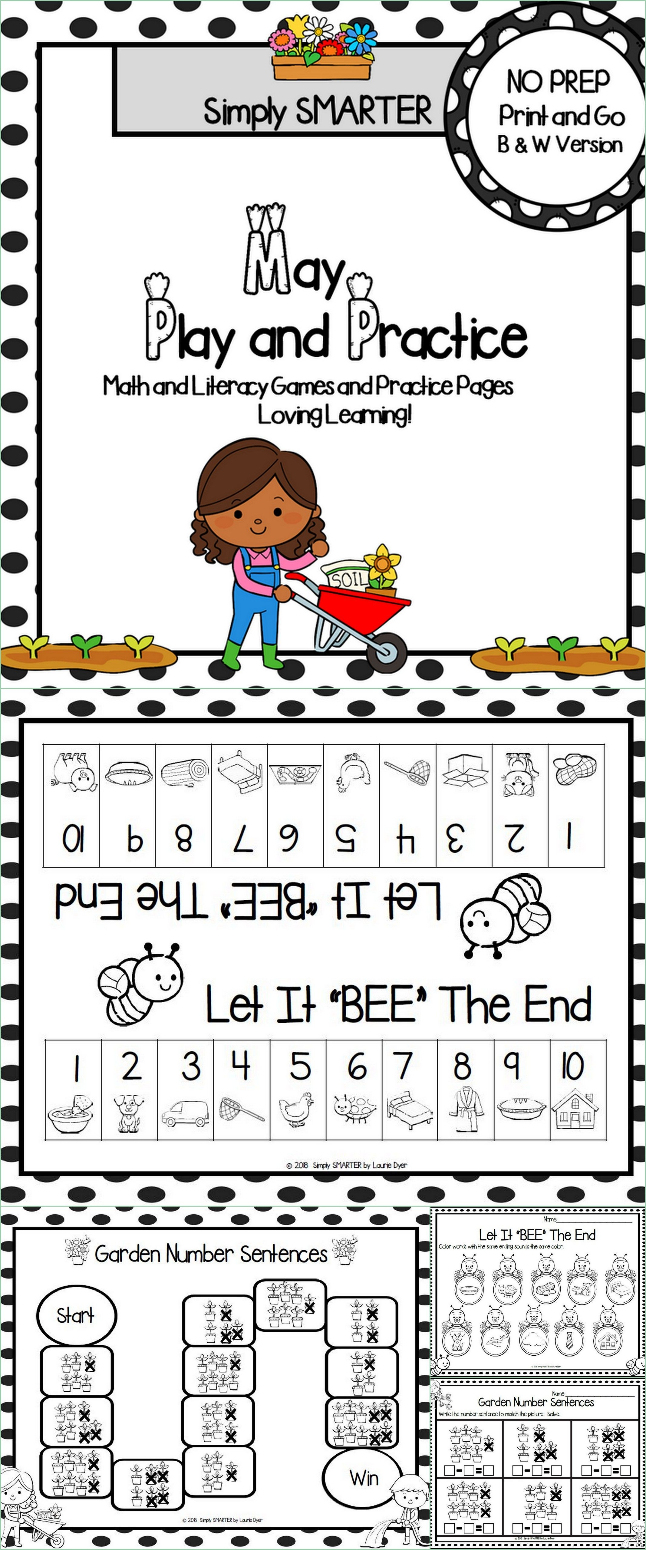 May Play And Practice No Prep Math And Literacy Games And