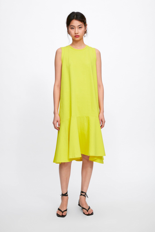 yellowdress ruffled #dress from zara #springfashion