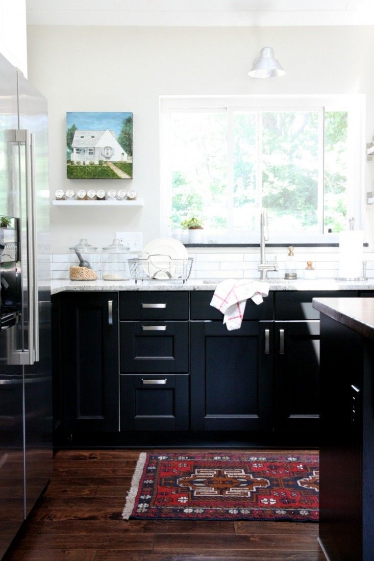 ikea ramsj black kitchen cabinets white subway tile backsplash - Ikea Black Kitchen Cabinets