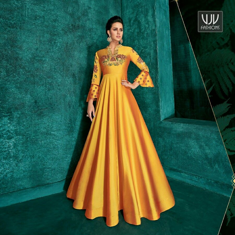 Modest Yellow Color Silk Designer Party Wear Gown in 2020