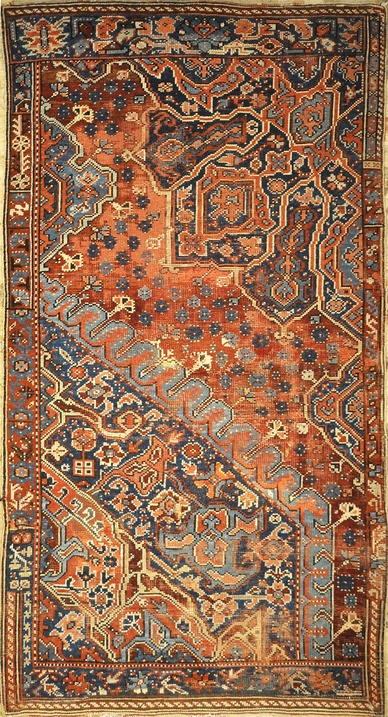 Rare Antique Sampler Oushak Turkish from 17th Century. A piece of genuine authentic woven carpet art sold by Santa Barbara Design Center, Rugs and More.