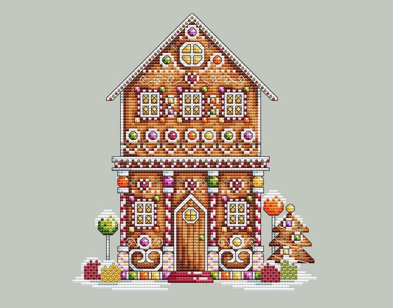 Shannon Wasilieff Candy Gingerbread Light House Christmas Cross Stitch Chart X