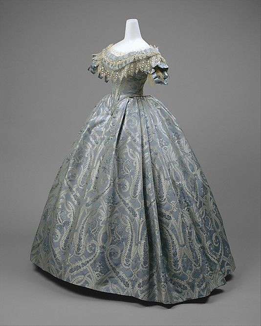 Blue silk and cotton brocade ball gown, probably American, ca. 1860 ...