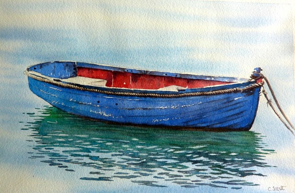 La Barque Aux Reflets 33x20 160 Barque Aquarelle