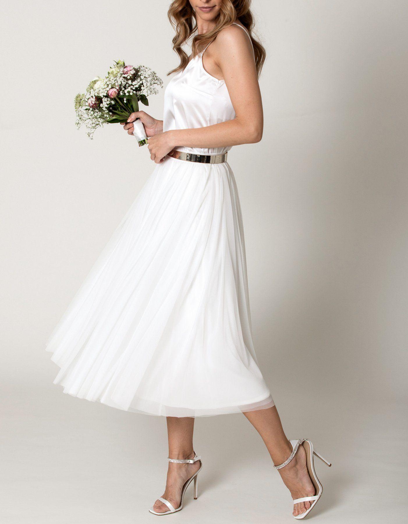 CONSTANT LOVE Tüll Rock Midi Wadenlang Braut Hochzeitskleid