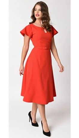 Vintage Diva 1940s Style Red Stretch Cap Sleeve Cherie Swing Dress ...