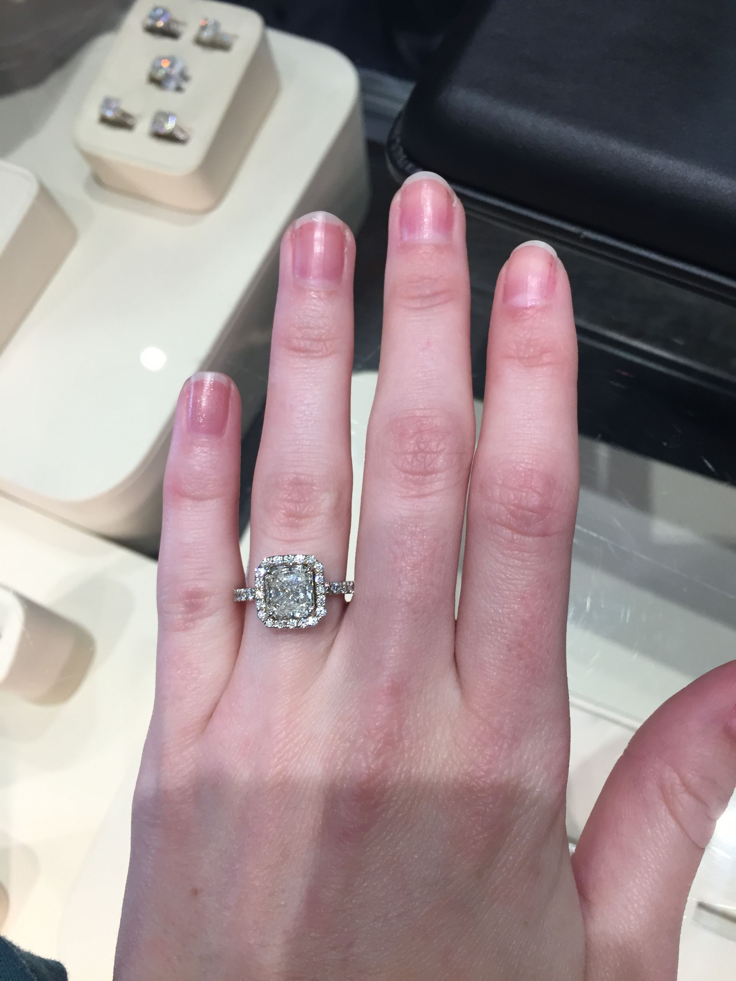 2 carat radiant cut with a halo. Perfect! From David Gardner\'s ...