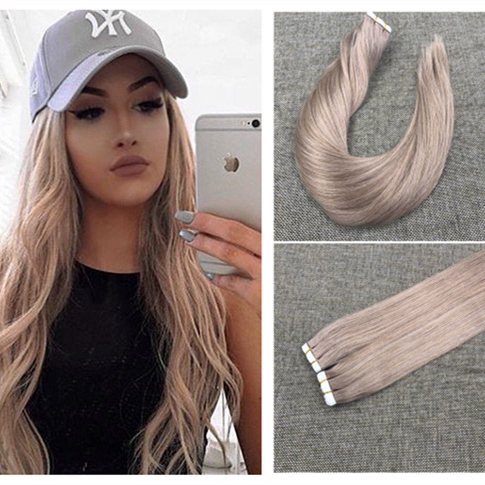 Ugeat 18inch Tape In Hair Extensions Ash Blonde Color Seamless Thick