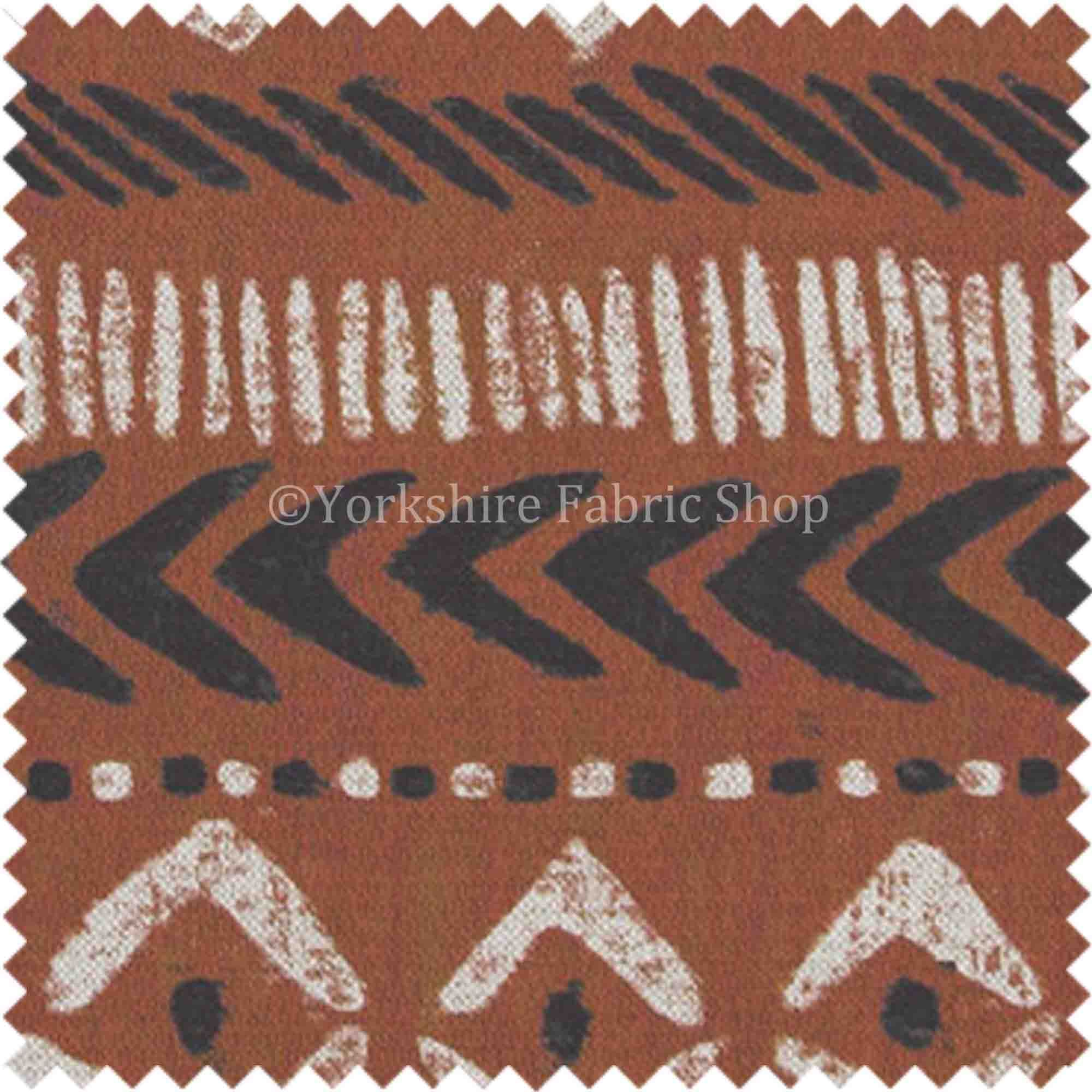 African Tribal Inspired Aztec Pattern Printed Cotton Linen Orange Shade
