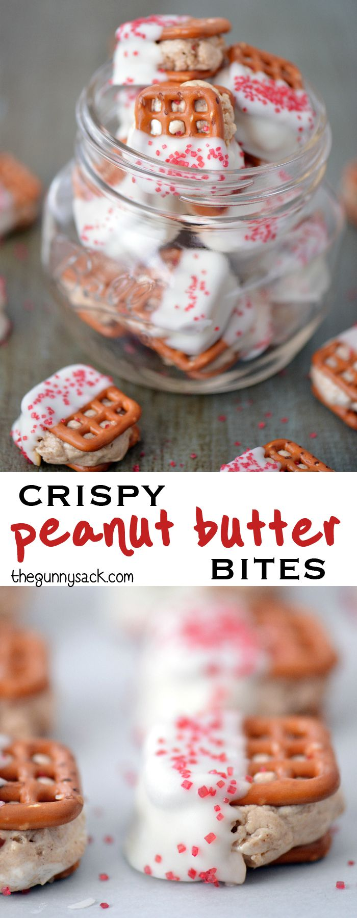 Crispy Peanut Butter Bites are so much easier to make than peanut butter balls or truffles. In this recipe, sandwich dough between pretzels and dip half in white chocolate!