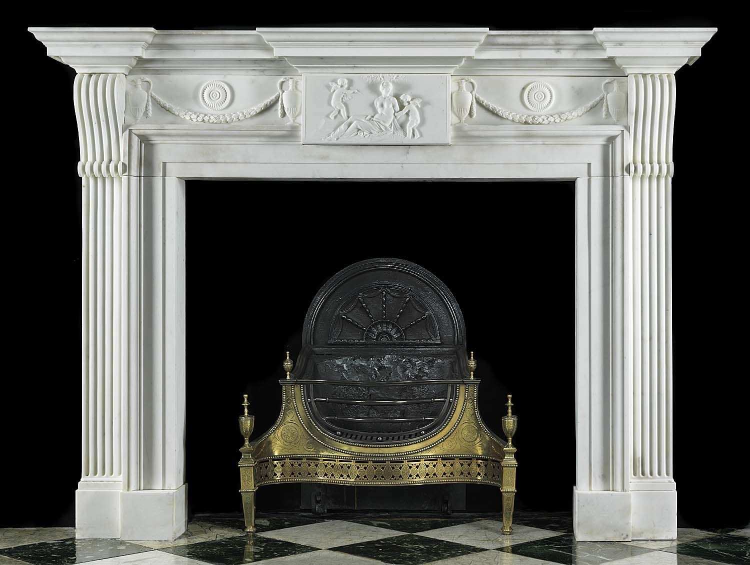 Antique Grand English Georgian White Marble Fireplace Mantel ...