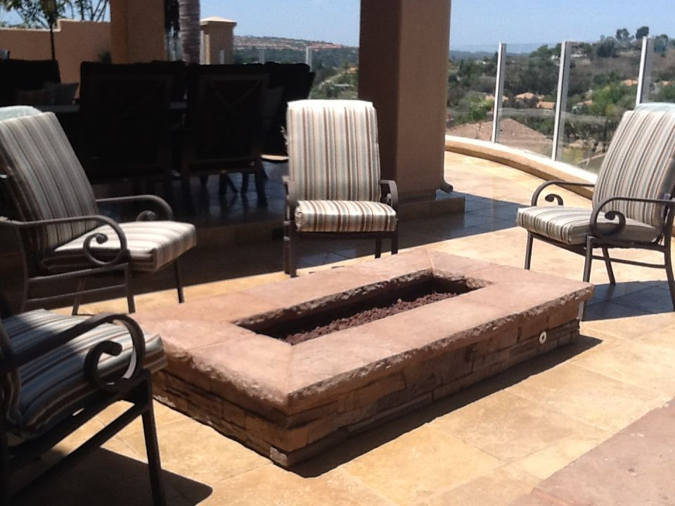 Custom gas fire pit with stone veneer and limestone top by ...