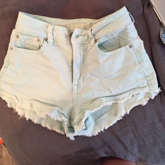 American eagle light real highwaisted shorts Teal colored denim high waisted shorts! Super comfy and in 10/10 condition American Eagle Outfitters Shorts Jean Shorts