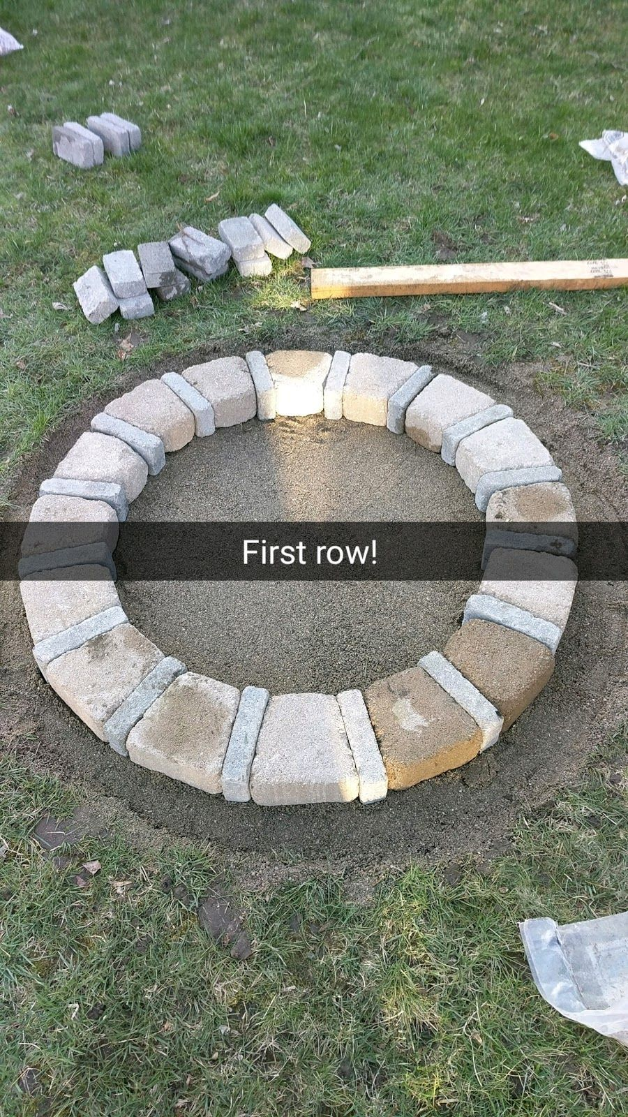 My Mother Asked Me To Build Her A Brick Fire Pit That She Had Found On Pinterest I Love Diy So Said Ye Landscaping Images