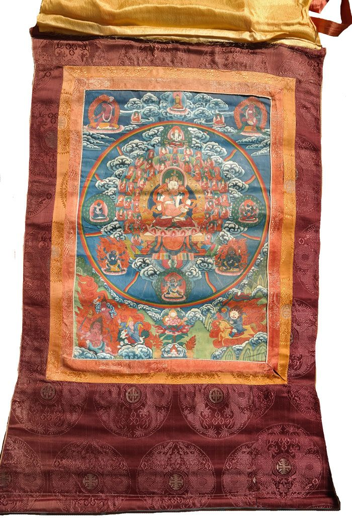 Vajrasattwa-Shakti-Thangka-302 abbildung komplett mit stoffapplikation