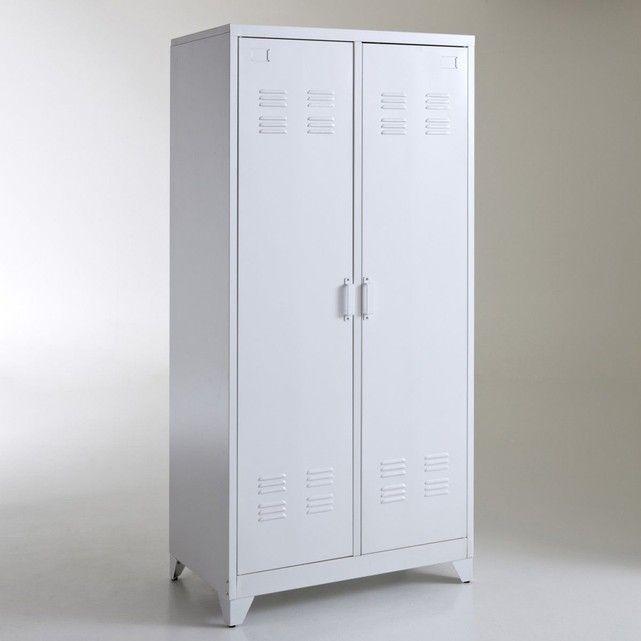 Armoire vestiaire, métal, 2 portes, Hiba La Redoute Interieurs - armoire ikea porte coulissante