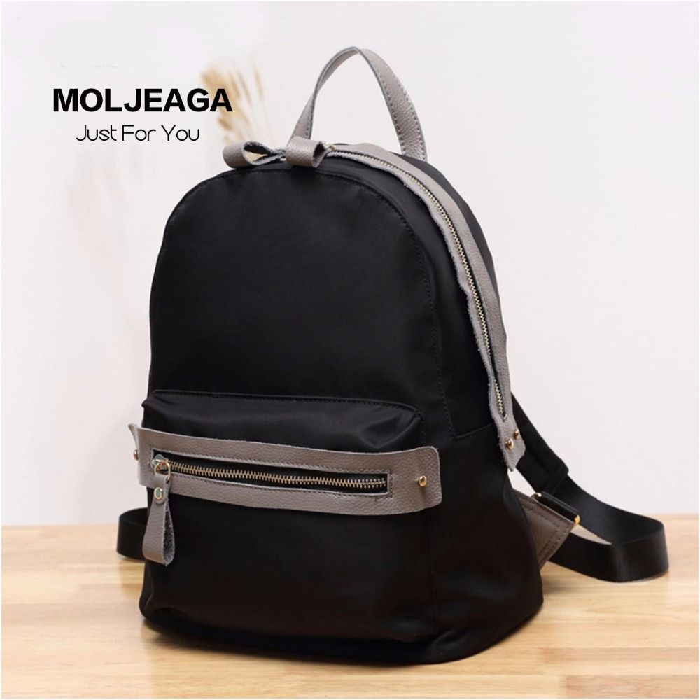 MOLJEAGA new arrival women nylon backpack genuine leather patchwork ... 4126582b15af5