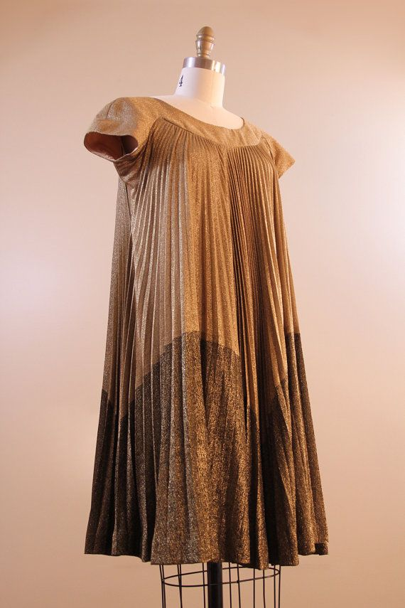 60s dress // #vintage 1960s gold trapeze dress | Fashion | Pinterest
