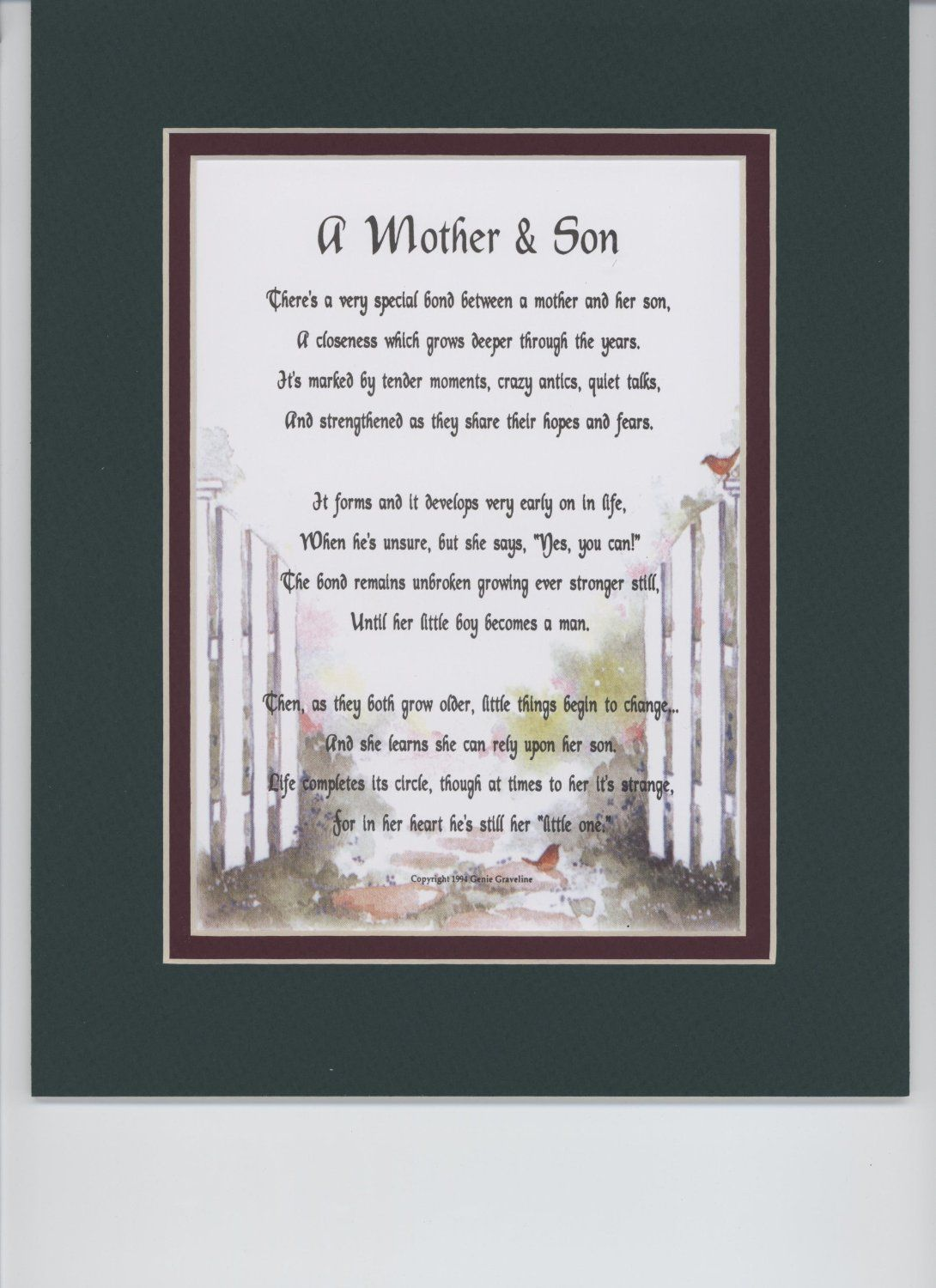 Wedding GiftA Mother Son Touching Poem Double Matted In Dark Green Over Burgundy And Enhanced With Watercolor Graphics A Gift For