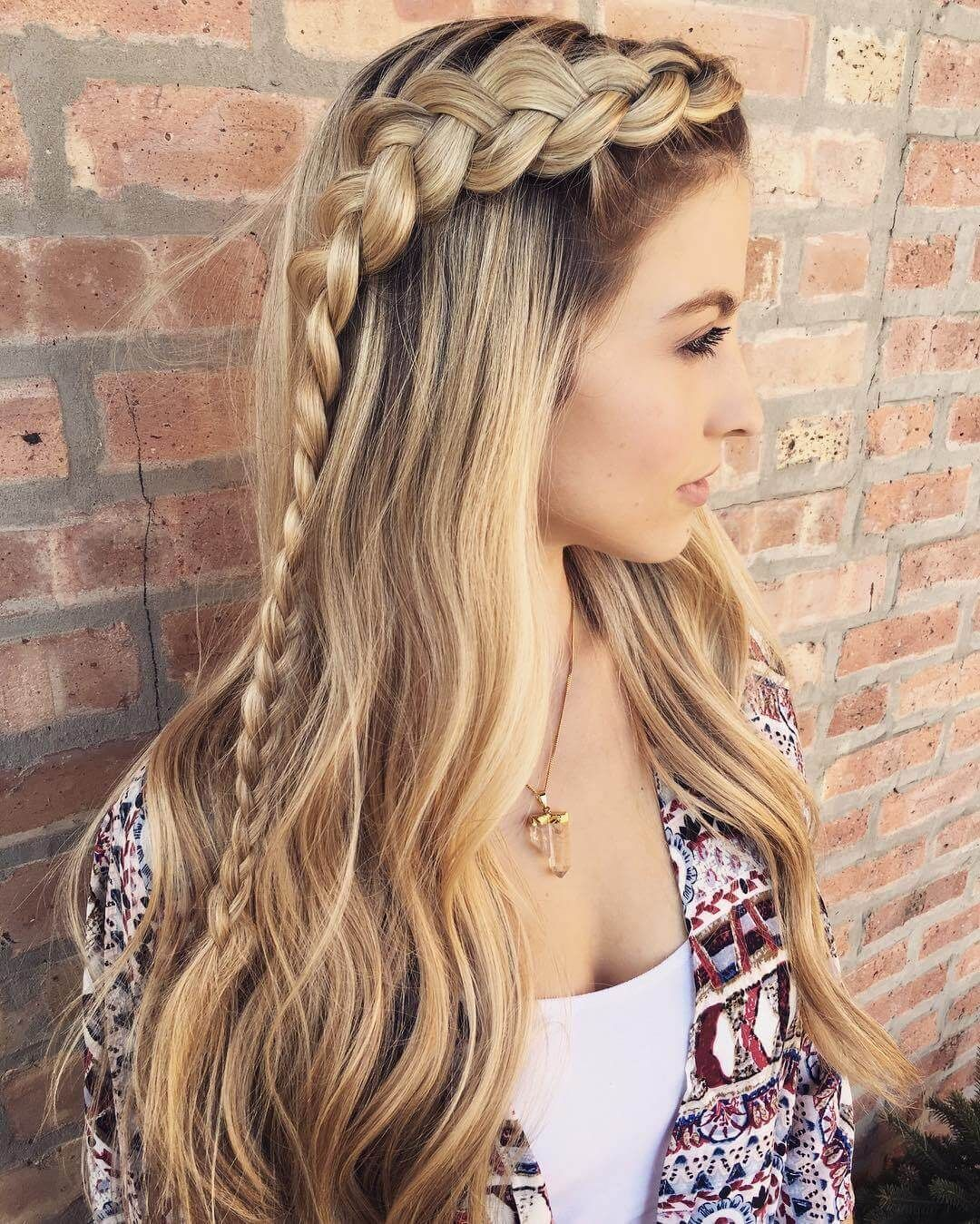 Tight Braid, Loose Waves  Hair styles, Thick hair styles, Cute