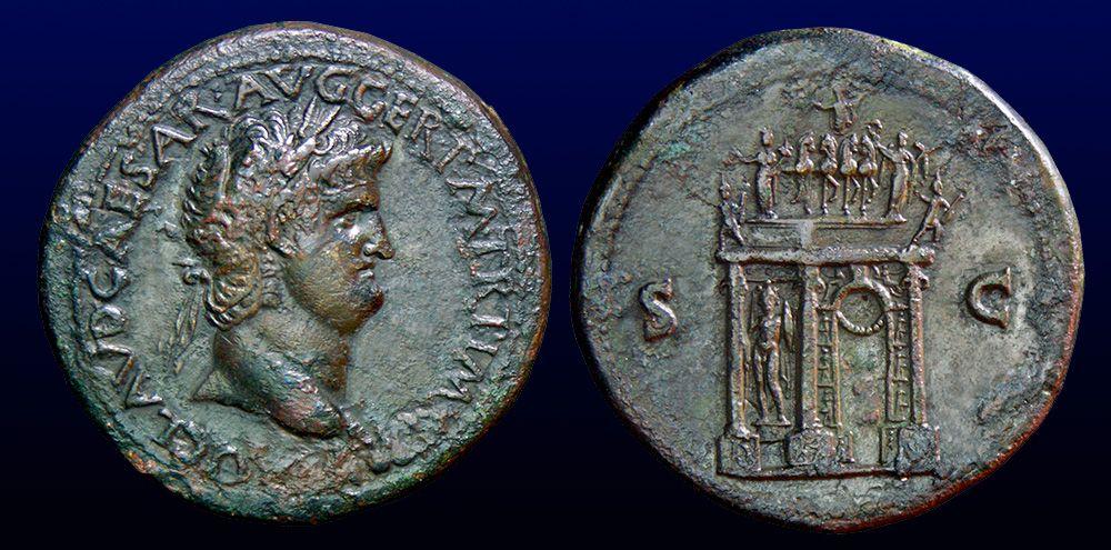 NERO  - Æ SESTERTIVS    A.D.65  LVGDUNVM    -  RIC.I 432, BMC.329, WCN.422  (Arcus Neroni)