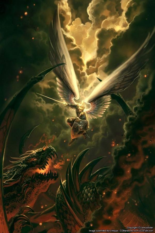 warrior angel attacking a huge dragon the revelation