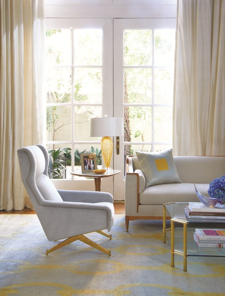 Jan Showers Collection: Milan Chair, Paris Coffee Table, Triangle Table, Venetian Series #3 Lamp in Amber, Marilyn Sectional