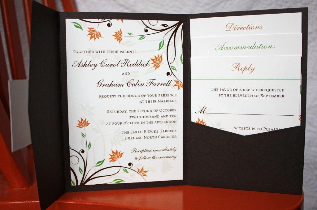 Cheap Wedding Pocket Invitations: Fall Wedding Invitations