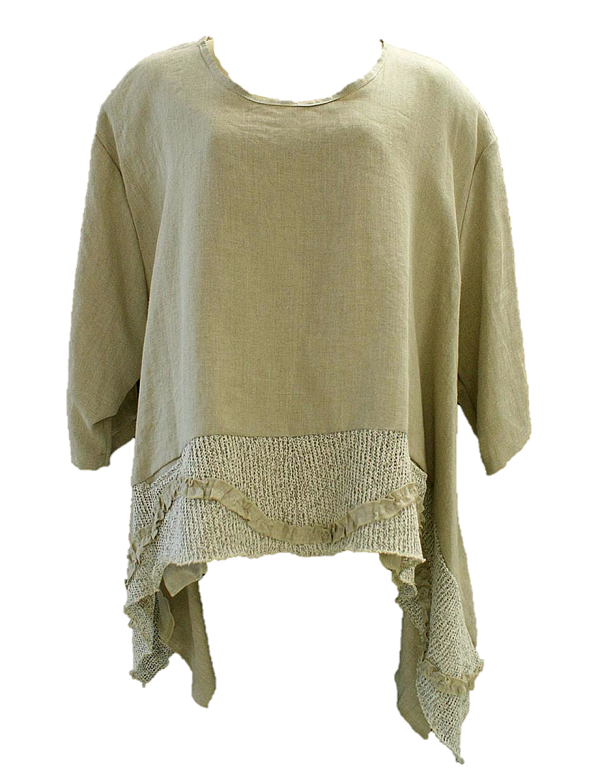 AKH Fashion Lagenlook weites Shirt aus Leinen mit Rüschen in sand XXL Mode bei www.modeolymp.lafeo.de
