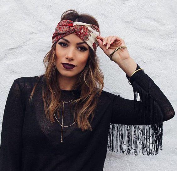 Bandana Foulard Cheveux Bracelet Uni