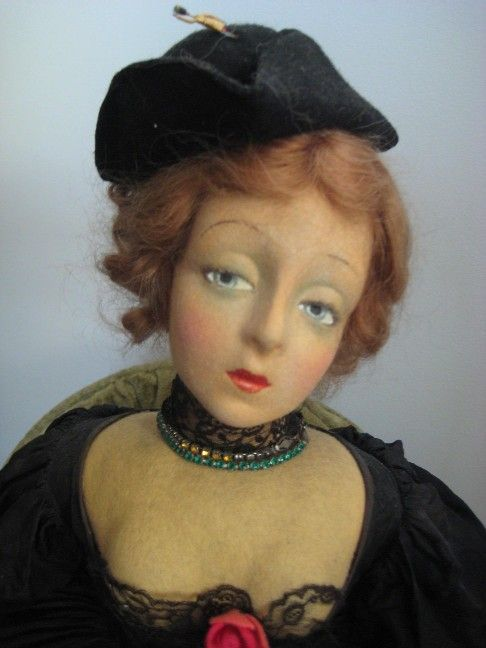 A/O STUNNING and RARE 1928 Lenci Portrait doll Marlene Dietrich from ribbonsantiques on Ruby Lane