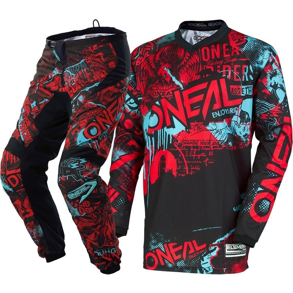 New Oneal 2018 Mx Element Attack Black Red Teal Jersey Pants Motocross Gear Set Ebay Motocross Gear Kids Motocross Gear Jersey Pants