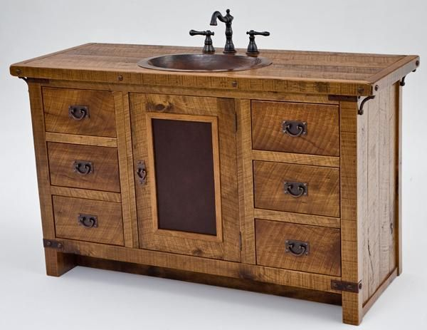 Bathroom Furniture Rustic Vanities Barnwood Vanity Hammered Copper Sink Ston