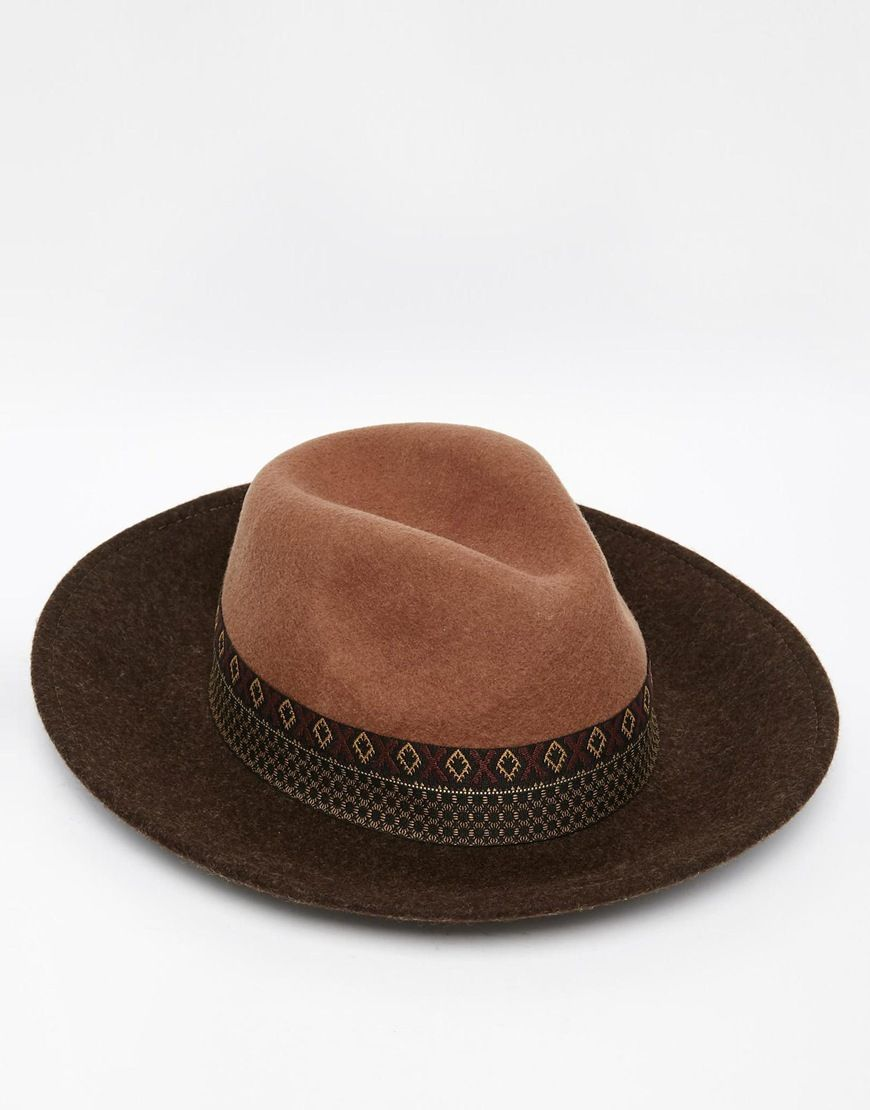 ad206200fedeb Image 1 of ASOS Wide Brim Fedora Hat In Camel Felt With Aztec Print Band