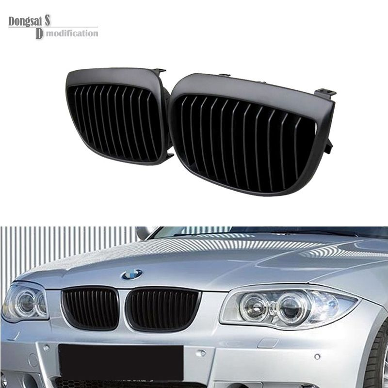 Abs Front Kidney Grills For Bmw E81 E87 2004 2007 Matte Black