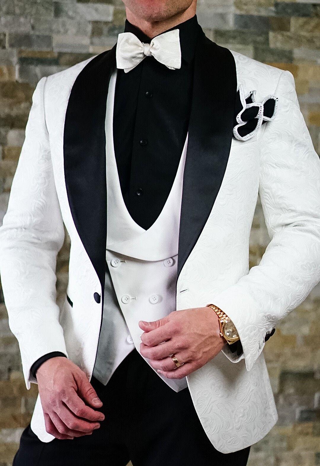 White & Black Paisley Dinner Jacket Burgundy tuxedo