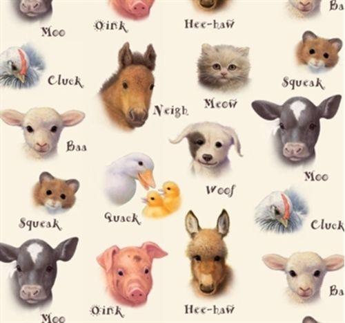 Animal Friends Baby Farm Animals Animal Sounds Cream Cotton Fabric