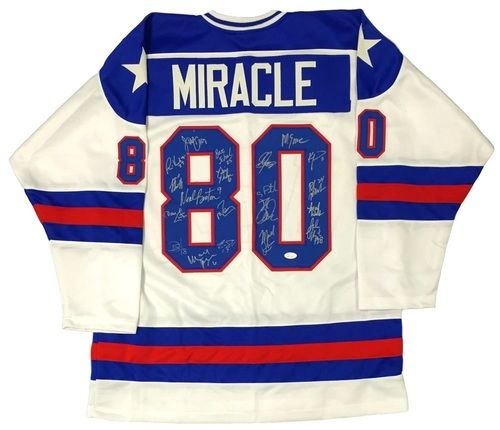 1980 Team Usa Miracle On Ice Team Signed Custom Jersey W 20 Signatures Jsa 100 Authentic Autograph Custom Jerseys Team Usa Autograph Jersey