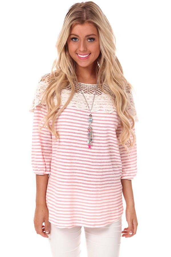 59d762f18768 Lush Clothing, Cute Boutiques, Pink Stripes, What To Wear, Lime, Tunic