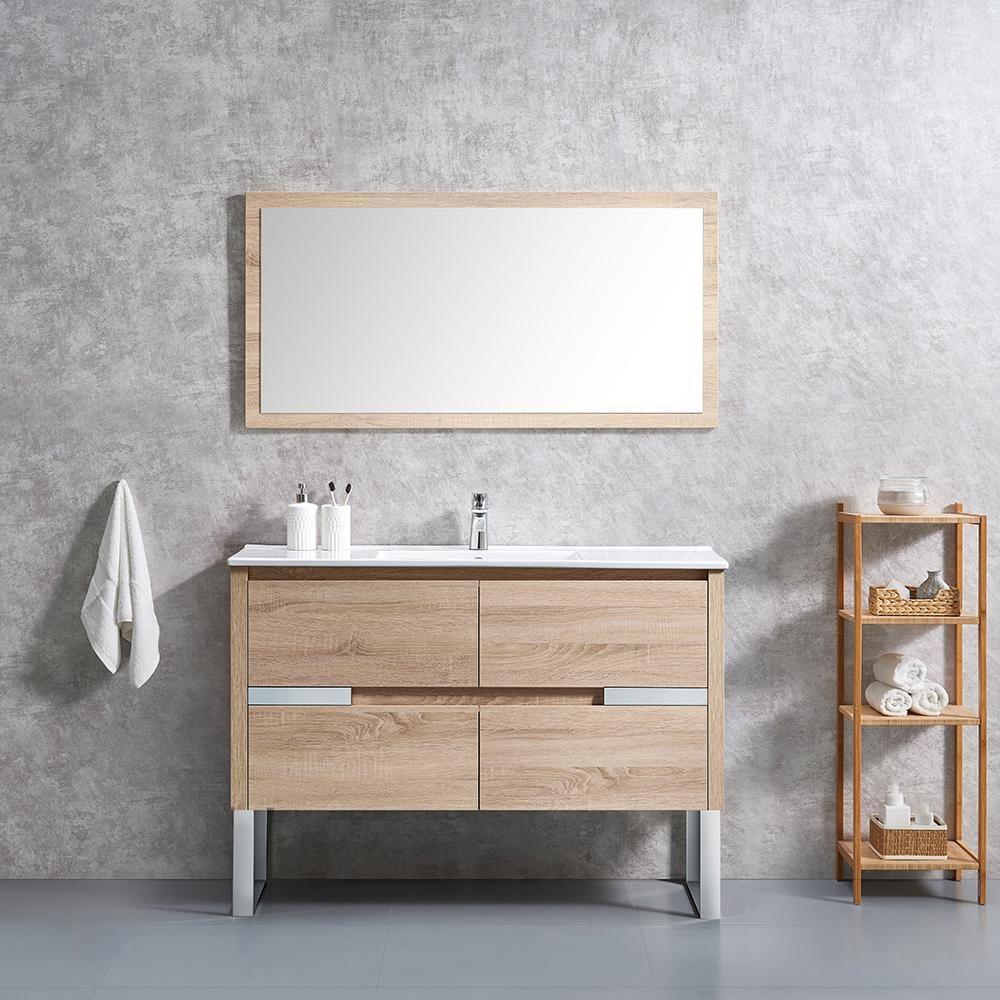 Home Decorators Collection Lennard 48 In W X 18 In D Vanity In Natural Wood With Ceramic Vanity Top In White With White Sink Lennard 48 The Home Depot Wood Bathroom 48 x 18 bathroom vanity