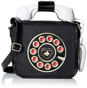 New Betsey Johnson Telephone Purse Bag Black W White Phone Rings So Cool Ebay