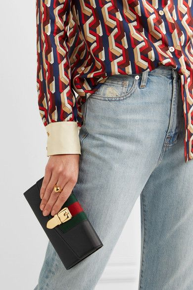 1dff17042 GUCCI Sylvie canvas-trimmed black leather lovely continental wallet ...
