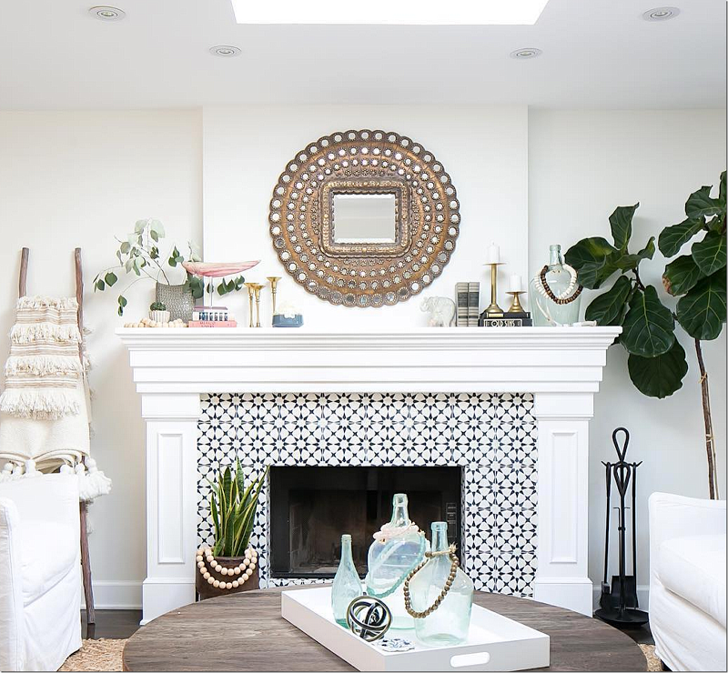 Accented Tile Fireplace Black White Accented Tile Home Fireplace Farm House Living Room Modern Farmhouse Living Room Decor