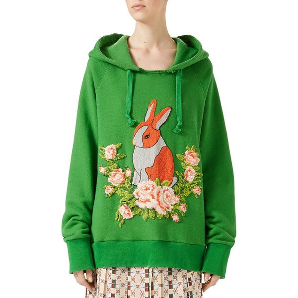 Gucci Rabbit Cotton Jersey Oversize Sweatshirt (€1.570) ❤ liked on Polyvore featuring tops, hoodies, sweatshirts, green, raw edge sweatshirt, gucci, green top, oversized sweatshirt and cotton jersey