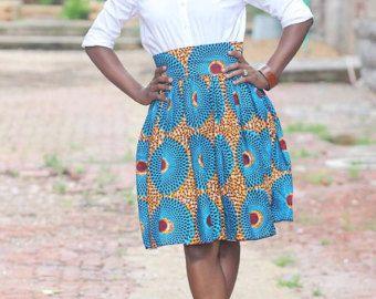 Orange African Ankara Dashiki Maxi Skirt by MsAlabaAfricanShop